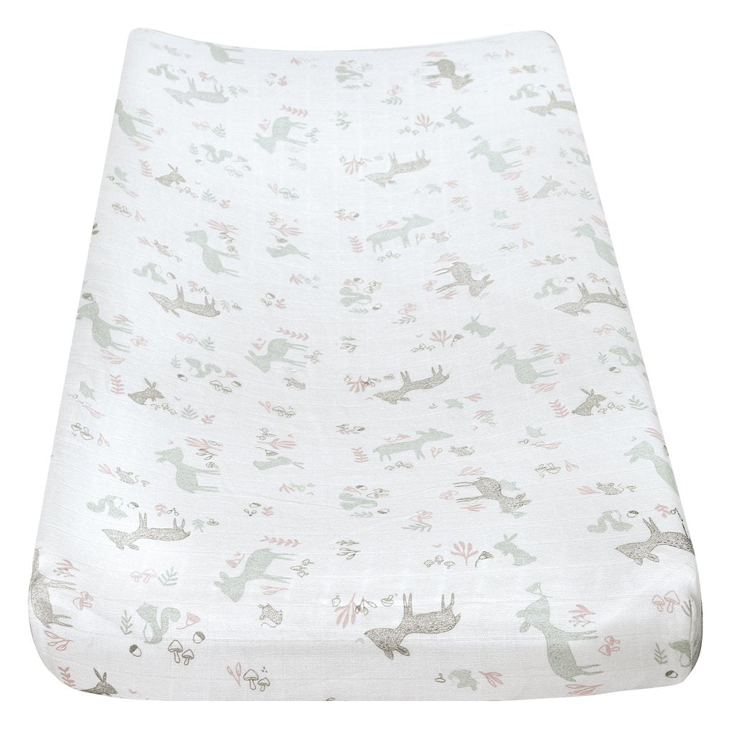 Perlim PinPin Cotton Muslin Change Pad Cover Forest Pink