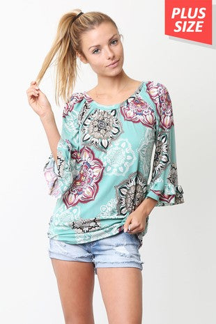 MInt Pattern Tunic- Plus Size