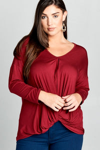Burgundy Casual top (Plus sizes)