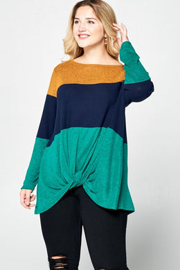 Colorblock tunic top (Plus size)