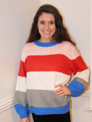 Blue-Red Colorblock Sweater