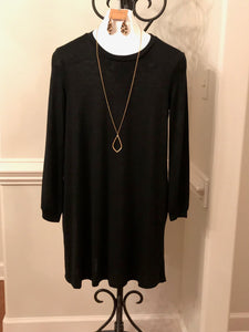 Black Knit Dress w/ POCKETS