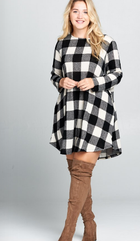 Plaid swing dress (Plus size)