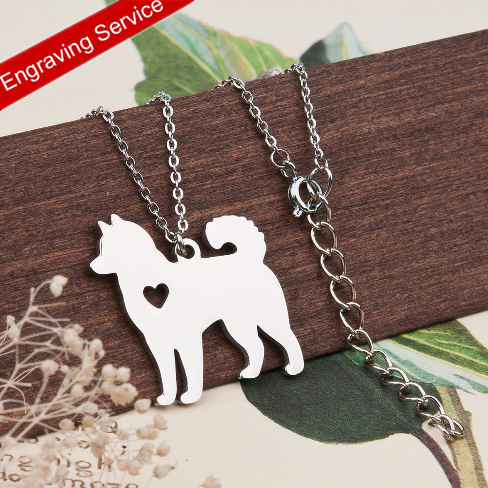 Husky Dog Heart Silhouette Necklace