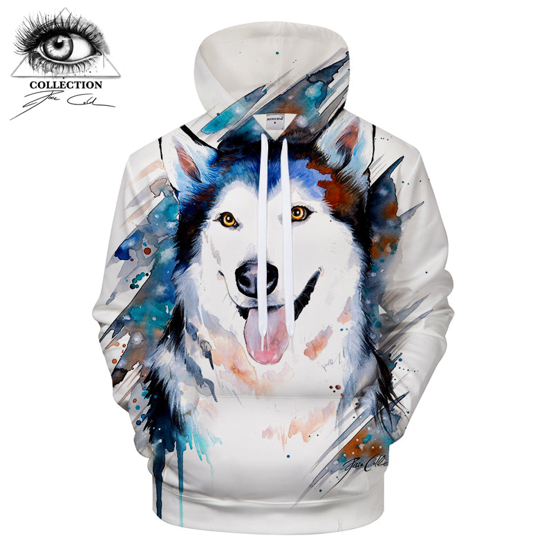 Husky 3D Printed Hoodies Men Women Sweatshirts