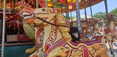Niffler riding the carousel on a horse
