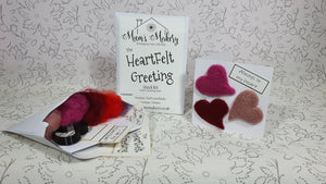 Needle Felting kit in envelope and finished kit greeting card with 3 hearts