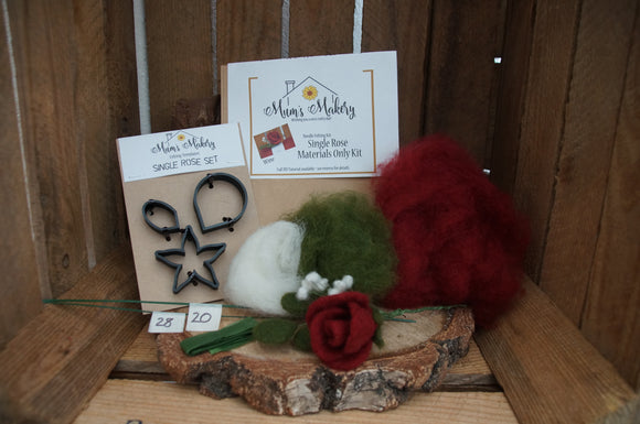 Needle felting Flower Rose Kit and Template set