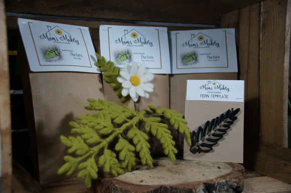 Needle felted fern felted leaves felting foliage kit & template