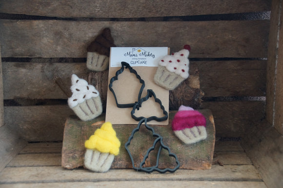 Needle felting cupcakes template set