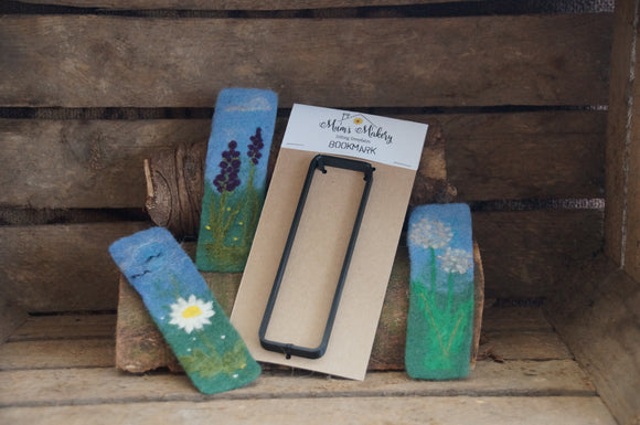 Bookmark needle felting template and examples