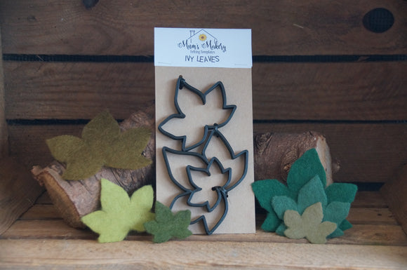 Needle Felting Ivy Template set surrounded by felted ivy leaves and in a rustic wooden crate