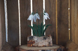 Needle felted snowdrops in a display log