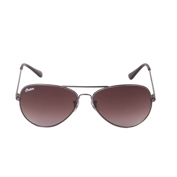 Aviator Sunglasses with Brown Lens -Silver