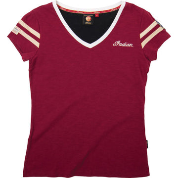 Ladies Heritage V-Neck Tee - Red by Indian Motorcycle®