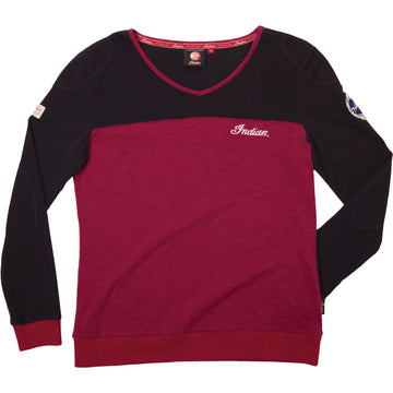 Ladies Heritage Chestline Sweatshirt - Red/Black by Indian Motorcycle