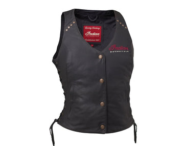 Women's Classic Leather Vest, Black by Indian Motorcycle®