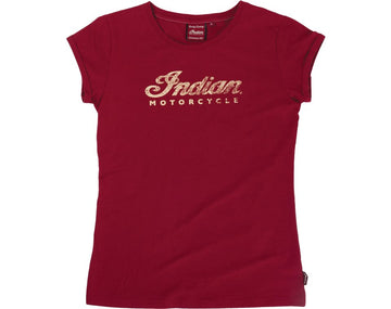 Womens Logo Crew Neck Tee - Red by Indian Motorcycle
