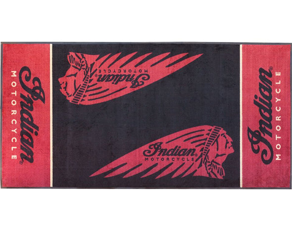Indian Motorcycle Parking Mat for Garage -Red/Black