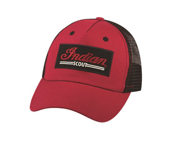 Mens Red Scout Trucker Hat by Indian Motorcycle