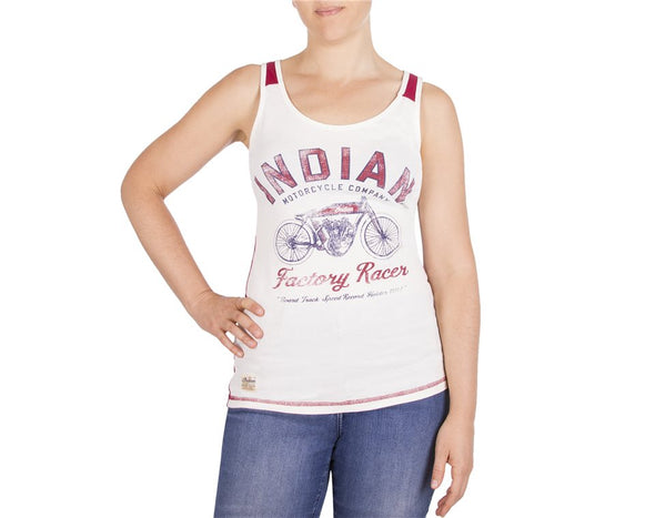Women's Racer Tank Antique White/Red  by Indian Motorcycle®