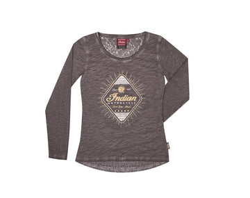 Women's  Gray Long Sleeve Diamond Tee by Indian Motorcycle®