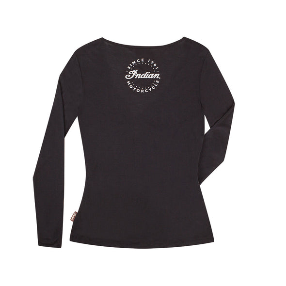 Women's Long-Sleeve Crossover T-Shirt -Black