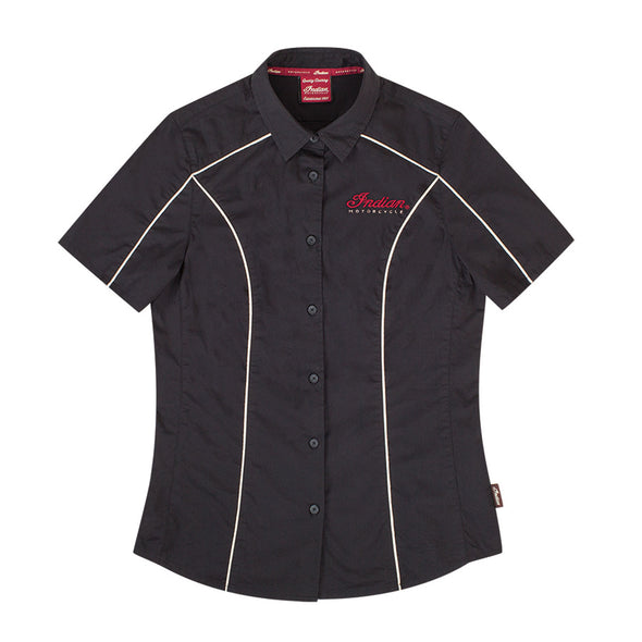 Women's Short-Sleeve Shirt with Circle Icon Patch, Black Size XS *ONLY 2 LEFT*