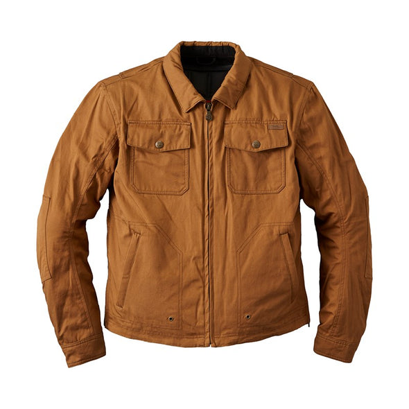 Men's Waxed Cotton Shift Riding Jacket with Removable Lining -Tan