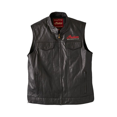 Men's Casual Zip-Up Outsider Leather Vest -Black