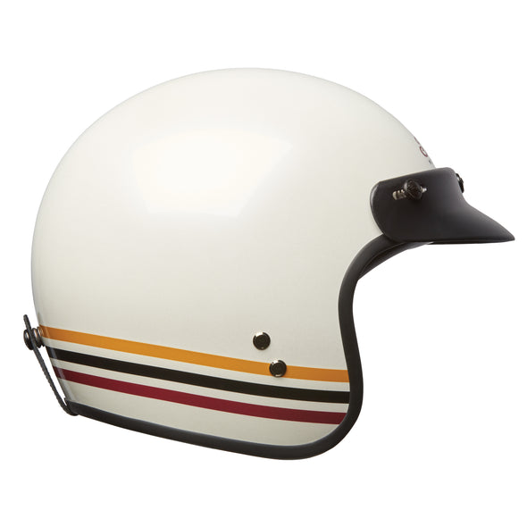 Open Face Retro Helmet with Stripes, White by Indian Motorcycle®