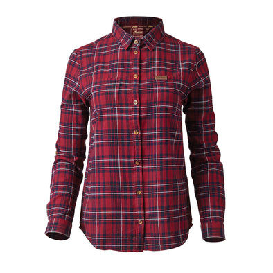 Women's Plaid Shirt with Embroidered Logo -Red/Navy