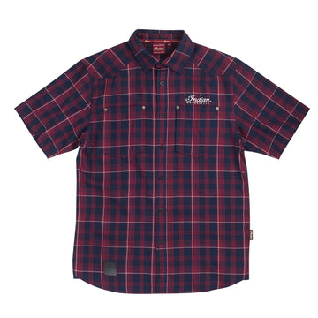 Men's Red Short Sleeve Plaid Shirt by Indian Motorcycle®