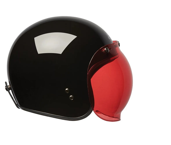 Open Face Retro Helmet Bubble Visor -Red