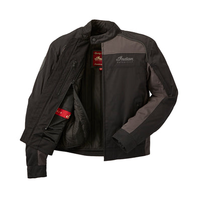 Men's Textile Flint Riding Jacket with Removable Lining -Black