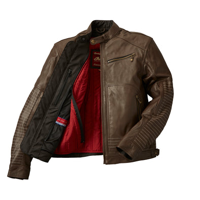 Men's Leather Phoenix Riding Jacket with Removable Lining -Brown