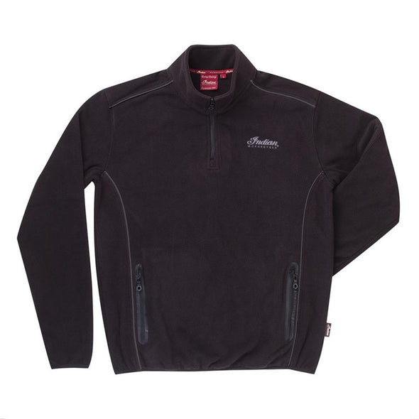 Men's Quarter-Zip Fleece with Embroidered Logo -Black