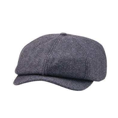 Herringbone Baker Boy Cap Hat -Gray