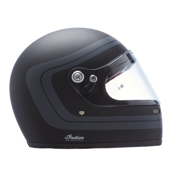 Full Face Retro Helmet with Matte Stripes -Black
