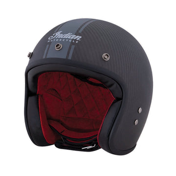 Open Face Carbon Fiber Retro Helmet with Stripes, Black by Indian Motorcycle®