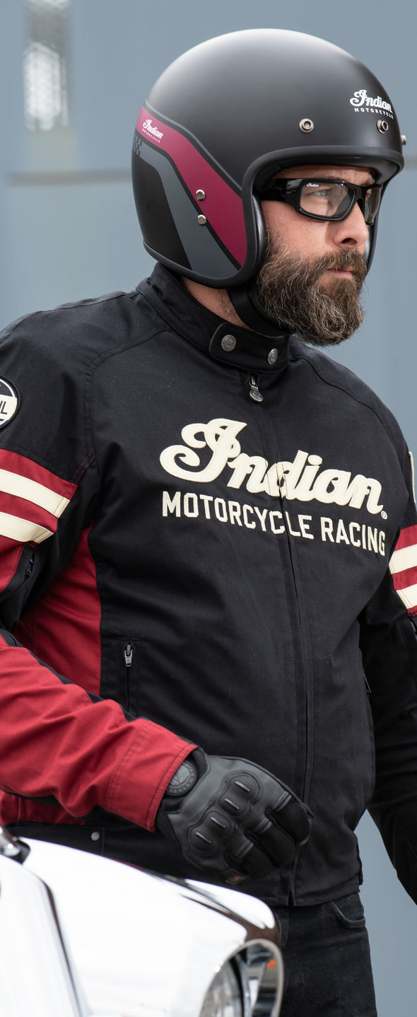 Men's Textile Flat Track Racing Riding Jacket with Removable Lining, Black/Red