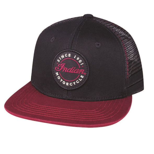 Flatbill Script Logo Trucker Hat -Black/Red