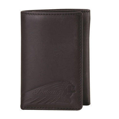 Leather Tri-Fold Wallet with Embossed Logo -Black