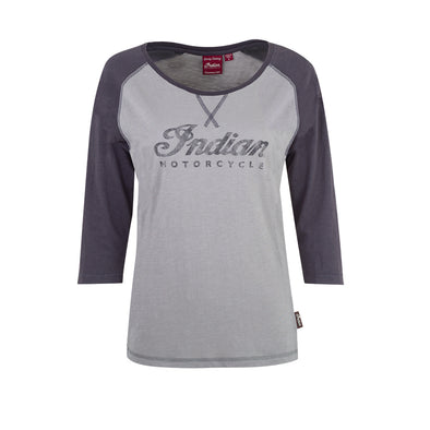 Women's Long-Sleeve Raglan T-Shirt with Script Logo -Gray/Charcoal