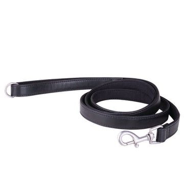 Leather Dog Leash Embossed Branding -Black
