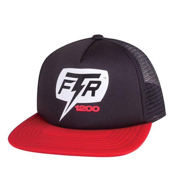 1200 Bolt Flatbill Trucker Hat -Black/Red