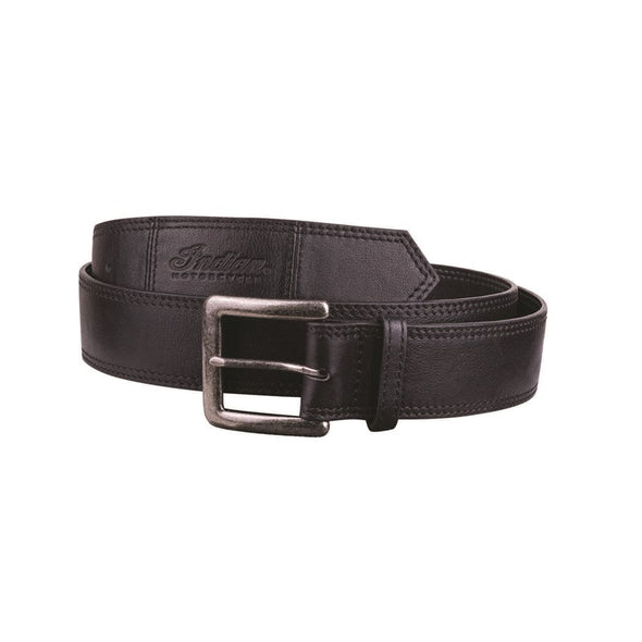 Leather Belt with Embossed Script Logo -Black