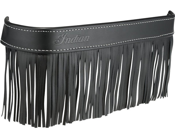 Genuine Leather Floorboard Trim with Fringe, Pair -Black