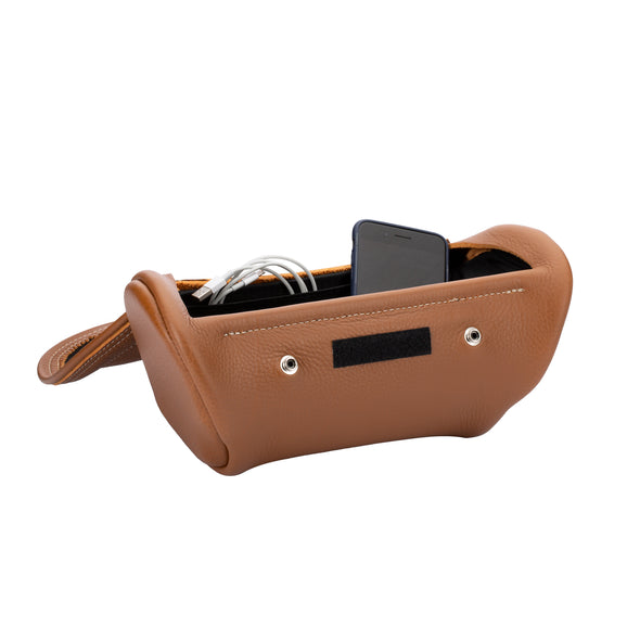 Genuine Leather Handlebar Bag - Tan