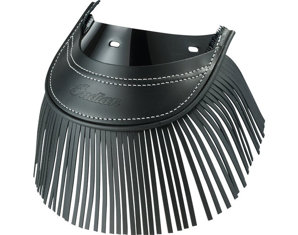 Genuine Leather Rear Mud Flap with Fringe -Black